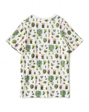 ホワイト CACTUSプリントTシャツ見る