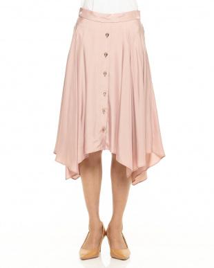 ピンク フロントボタンイレギュラーヘムスカート見る
