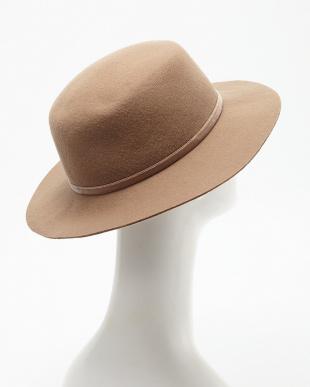 ベージュ  フェルトカンカン帽見る