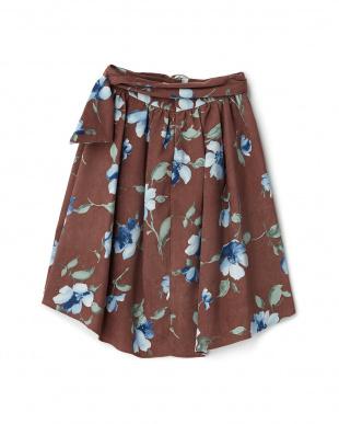 ブラウン  共ベルト付ストレッチスエード花柄フレアスカート見る