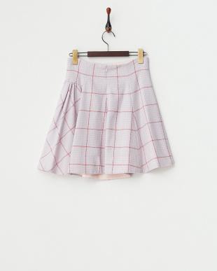 ピンク 千鳥ギャザーフレアスカート見る