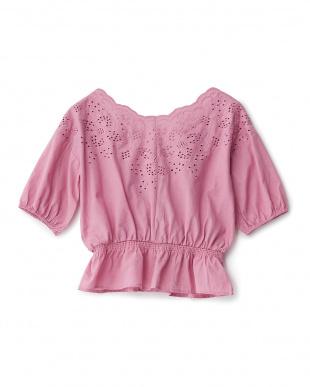 ピンク  スカラップ刺繍ペプラムPO見る