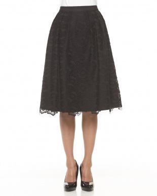 ブラック フラワー刺繍セミフレアスカート見る