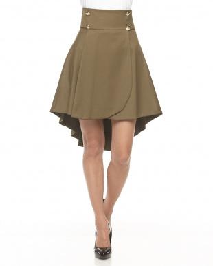 ミリタリー(オリーブ)  ボタン付きフィッシュテールスカート見る