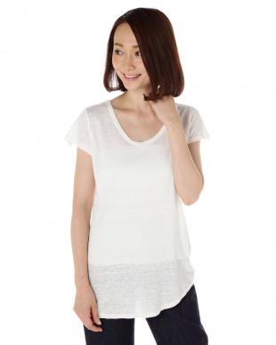 ホワイト リネンジャージTシャツ見る