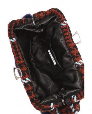 ワイン  Tweed clutch bag with rabbit fur見る