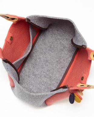 ライトピンク  イタリア製フェルトくり手トートバッグ ベージュレザー見る