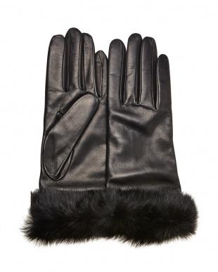 ブラック  ファー付きイタリアンレザー手袋見る