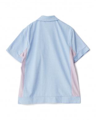 サックスブルー  度詰めカノコ刺繍ポロシャツ見る