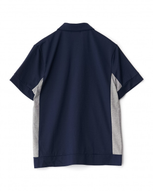 ネイビー  度詰めカノコ刺繍ポロシャツ見る