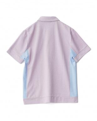 ラベンダー  度詰めカノコ刺繍ポロシャツ見る