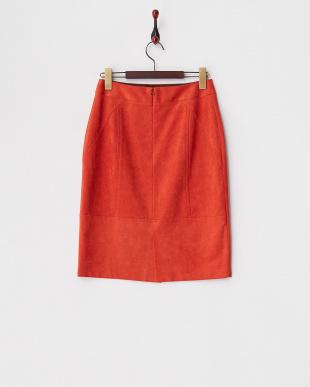 オレンジ スエード調バックスリットスカート見る