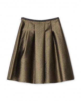 ゴールド  ラメジャカードクロスタックフレアスカート見る