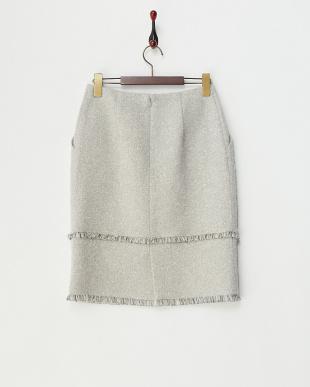 グレー  フリンジ使いブークレツイードスカート見る