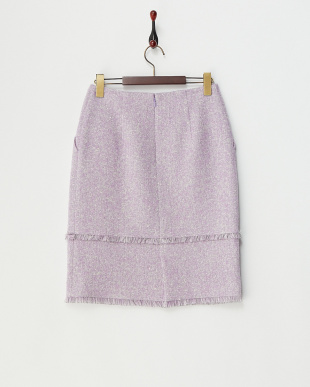 パープル  フリンジ使いブークレツイードスカート見る