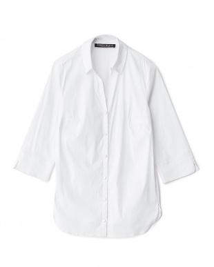 ホワイト BLU スキッパーカラーストレッチシャツ見る