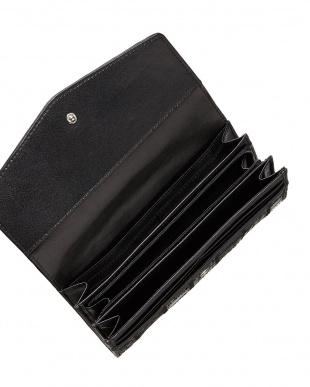 ブラック  パッチワーククロコダイル かぶせ式長財布見る