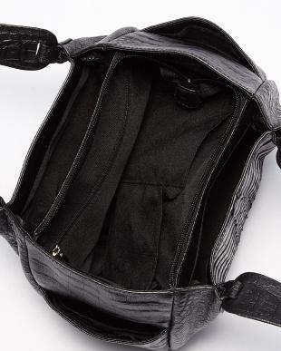 ブラック  カイマンワニ革&牛革クロコ型押し ハンドバッグ見る