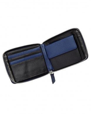 ブルー  ダイヤモンドパイソンラウンドファスナー小銭入付き2ツ折財布見る