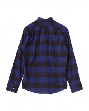 ブルー  ヘリンボーン起毛チェックシャツ見る