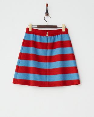 ブルー×レッド DEDALO 起毛ボーダースカート見る