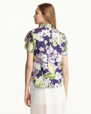 ネイビー  DIGA ケープデザイン プリントシャツ見る