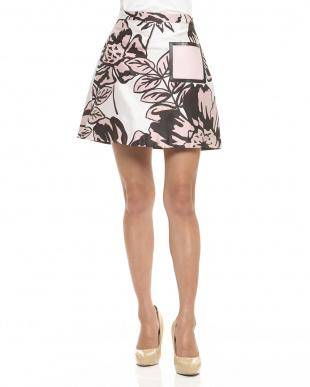 ブラック×ピンク PAGELLA 配色ポケット台形スカート見る
