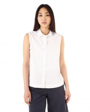 ホワイト Washed Oxford Cotton ノースリーブシャツ|WOMEN見る