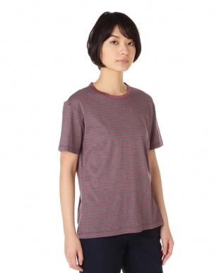 ワイン ボーダー クルーネックTシャツ|WOMEN見る