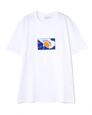 ホワイト  Long-Staple Cotton T-Shirt With Sun & Cloud Print|WOMEN見る