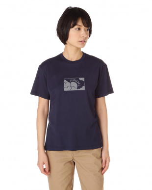 ネイビー  Long-Staple Cotton T-Shirt With Sun & Cloud Print|WOMEN見る