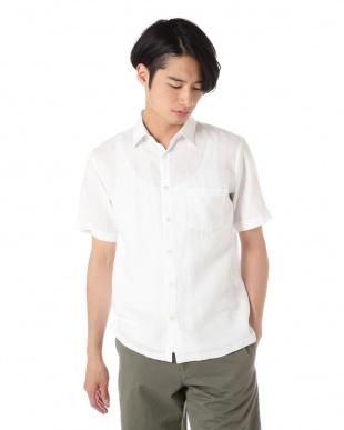 ホワイト LINEN 半袖シャツ|MEN見る
