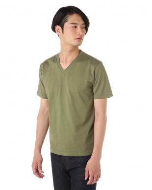 カーキ TWO FOLD 60'S VネックTシャツ|MEN見る