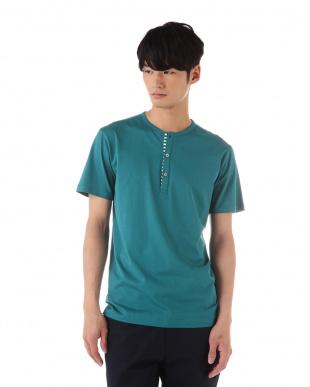 ブルー  ヘンリーネックTシャツ|MEN見る