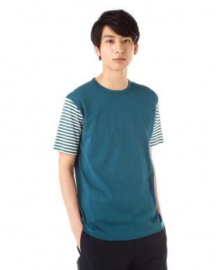 ブルー  ボーダー袖Tシャツ|MEN見る