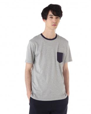 グレー  配色クルーネックTシャツ|MEN見る