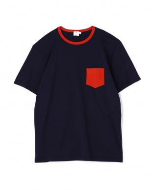 ネイビー  配色クルーネックTシャツ|MEN見る