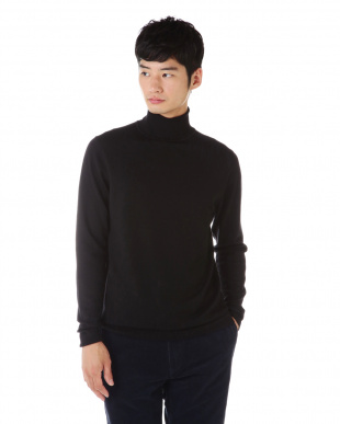 ブラック  Fine Merino Wool Long Sleeve Roll Neck ニットプルオーバー|MEN見る