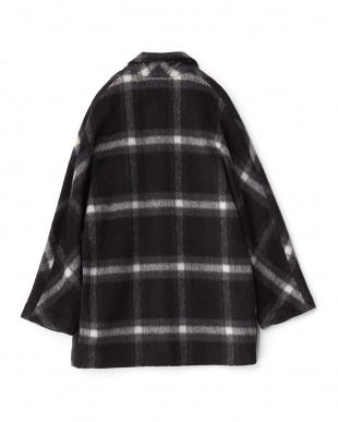 ブラック  モヘヤ混シャギーチェックジャケットコート見る