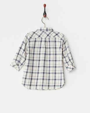 アイボリー  ロングチェックシャツ見る
