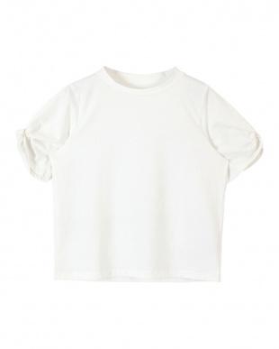 ホワイト  ツイストスリーブカットソーTシャツ見る