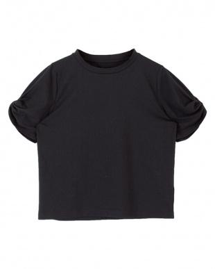 ブラック  ツイストスリーブカットソーTシャツ見る