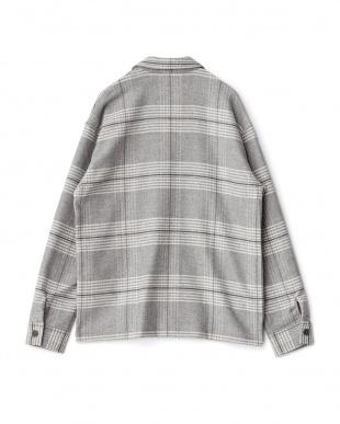GRY  カラーネップストレッチシャツジャケット WH見る