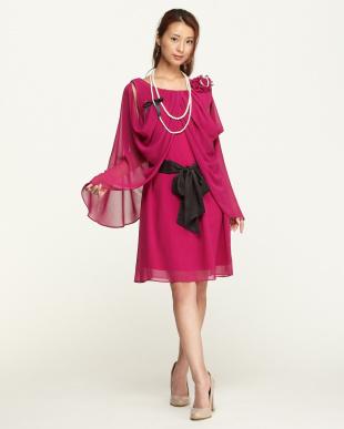 ローズピンク  ネックレス付きドレープドレス見る