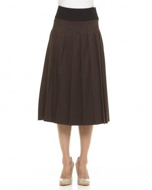 brown ウールプリーツスカート見る