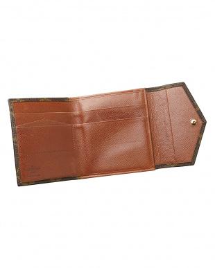 ブラウン モノグラム Wホック二つ折り財布見る