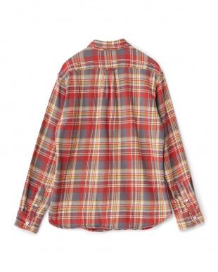 GRAY/RED V加工ネップネルシャツ見る