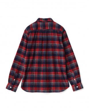 NAVY/RED  フランネルチェックシャツ見る