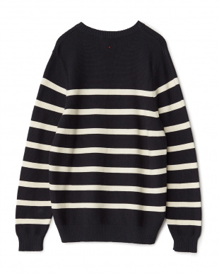 NAVY/WHITE NV StCTN CR SWEATER見る