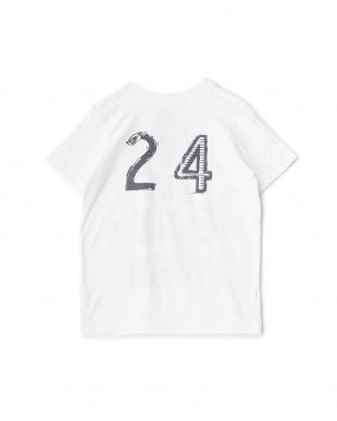 ホワイト ロゴプリントTシャツ見る
